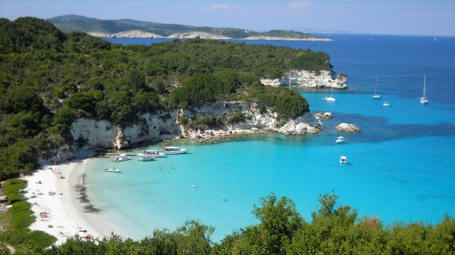View of Voutoumi beach in Antipaxos island