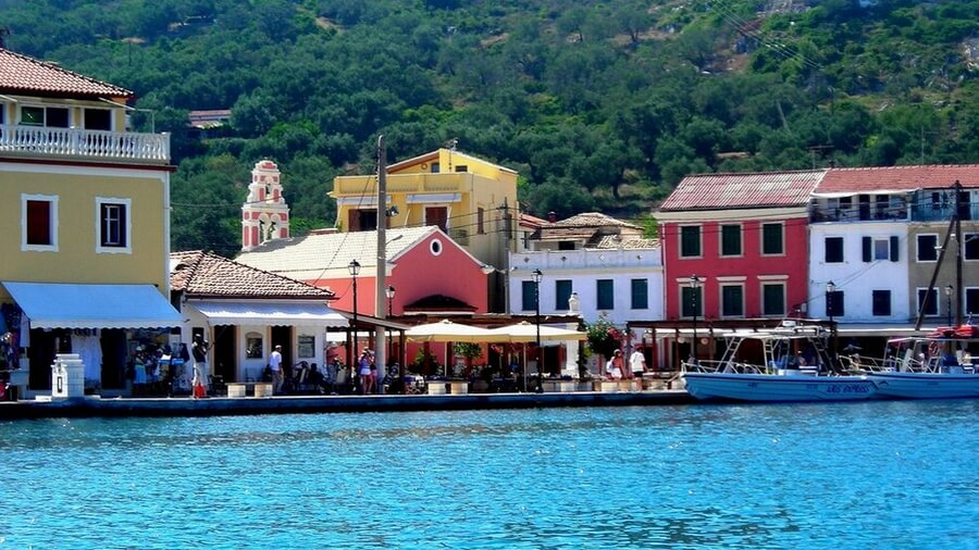 The port of Gaios village at Paxoi island